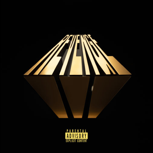 "This picture is the album cover for ""Revenge of the Dreamers III"" album. The words revenge are in gold letters. Black background."