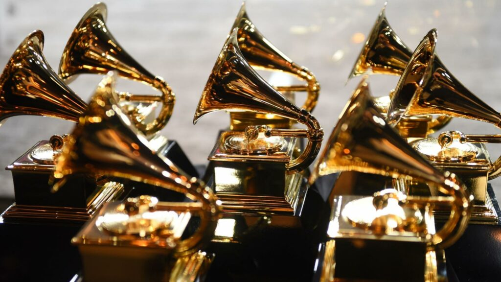 The grammy awards are gold and black